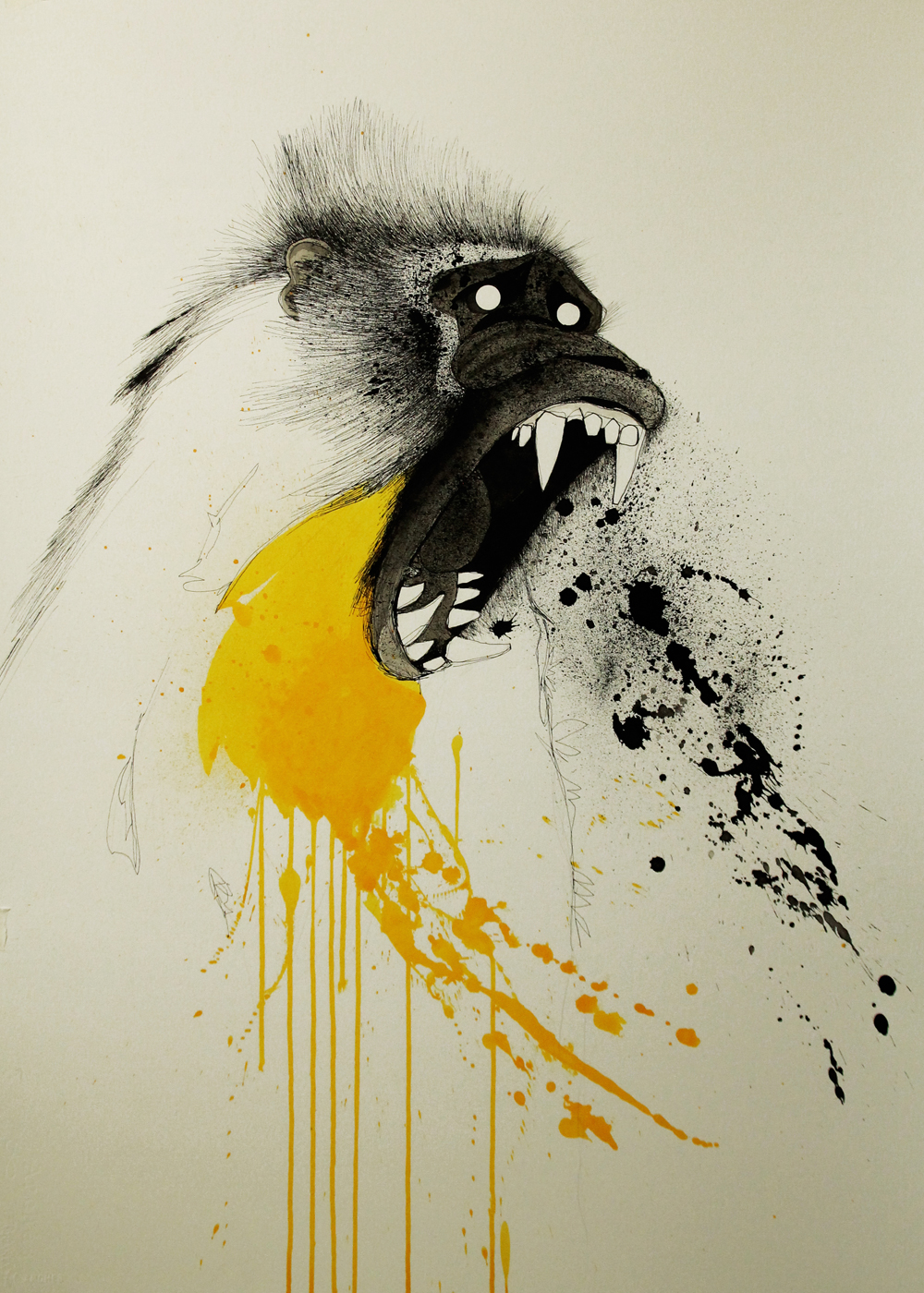 ainhoa azumendi illustration art monkey mandrill